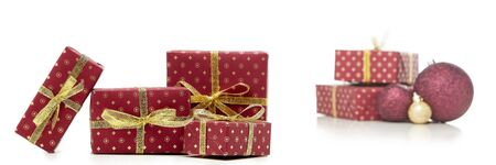 Gift boxes and Christmas decoration  isolated on white  background with copy space. Christmas and New Year shopping. Greeting card