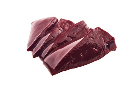 Raw slices of beef livers isolated on a white background