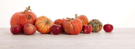 Festive autumn still life with pumpkins and red apples on light wooden table on white background with copy space. Concept of autumn harvest, happy Thanksgiving  day or Halloween.