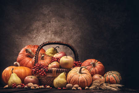 Festive autumn still life with pumpkins, basket with apples, berries, nuts, pears, rye ears on wooden surface on brown background with copy space. Concept of autumn harvest, happy Thanksgiving  day Stock Photo