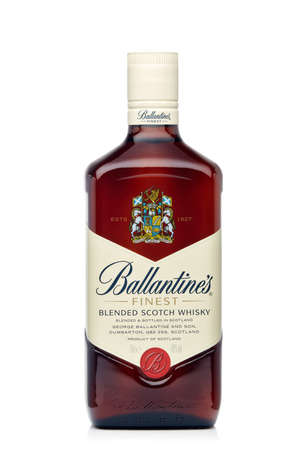 St.Petersburg, Russia - February 2020 - Bottle of Ballantine's Finest blended scotch whisky isolated on white background. Product of Scotland 新闻类图片