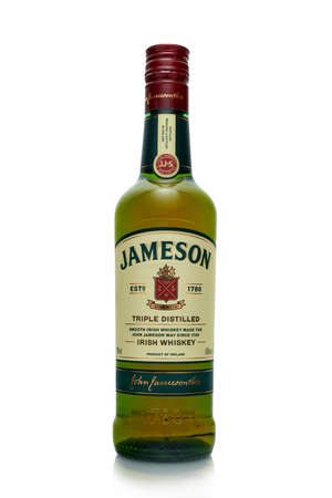 St.Petersburg, Russia - April  2020 - Bottle of Jameson  triple distilled irish whiskey  isolated on white background. Product of Ireland Editorial