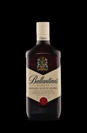 St.Petersburg, Russia - February 2020 - Bottle of Ballantine's Finest blended scotch whisky on black background. Product of Scotland Editorial