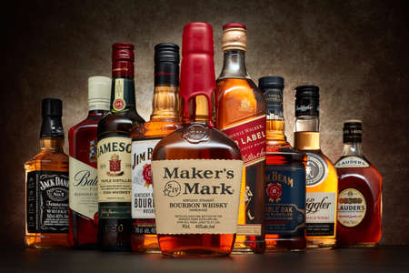 St.Petersburg, Russia - April  2020 - Bottle of Marker's Mark bourbon whiskey on background of other popular brands of whiskey (whisky) on dark  background