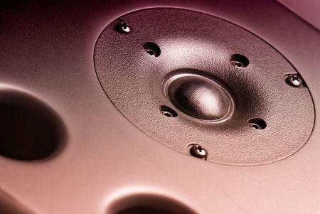 tweeter: Studio speaker detail. Focused on the silk tweeter Stock Photo