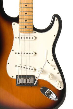 stratocaster: Guitar body (Stratocaster) on white background.