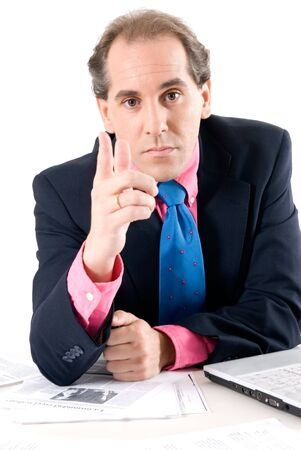 explanations: Businessman asking for explanations with laptop on white background.