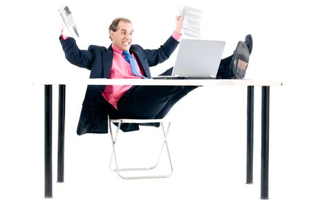 Overload businessman with computer problem on white background. Stock Photo - 6098695