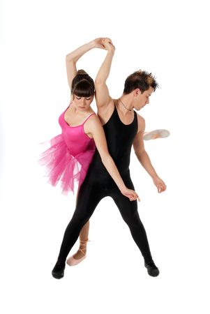 Young couple dancing ballet isolated on white background, full lenght portrait. photo