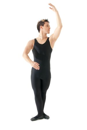 full lenght: Young man dancing ballet isolated on white background, full lenght portrait. Stock Photo