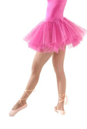 pink posing: Unrecognizable female dancer with tutu isolated on white background.