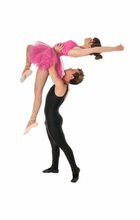 Young couple dancing ballet isolated on white background, full lenght portrait. Stock Photo
