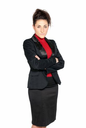 Businesswoman looking serious isolated on white background photo