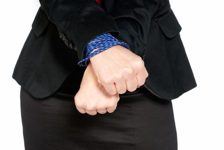 Businesswoman hands tied, job slave concept, isolated on white background photo