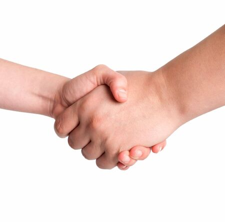 shake hands: Man and woman handshake isolated on white background