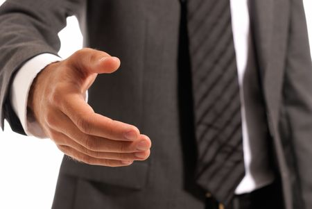 offerings: Unrecognizable businessman handshake closeup isolated on white background Stock Photo