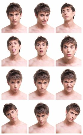 frontal: young man face expressions composite isolated on white background.