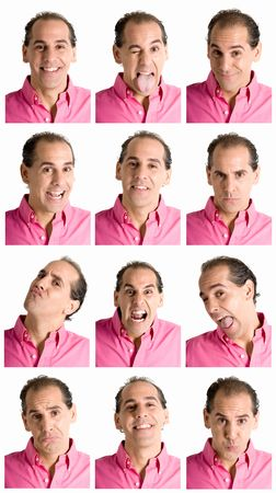 frontal: Adult man face expressions composite isolated on white background.