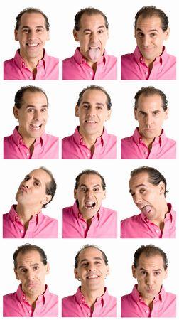 Compuesto de expresiones de cara de hombre adulto aislado sobre fondo blanco.  Foto de archivo