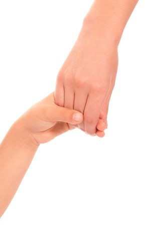 holding mother's hand: Young woman and children girl handshake isolated on white background