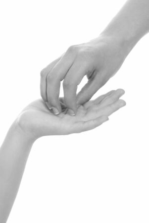 young woman and children girl handshake black and white isolated photo