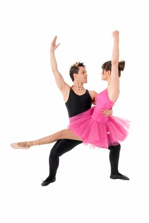 full lenght: Young couple dancing ballet isolated on white background, full lenght portrait. Stock Photo