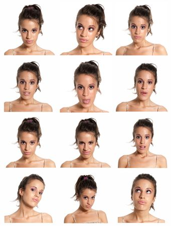 frontal: young woman face expressions composite isolated on white background. Stock Photo