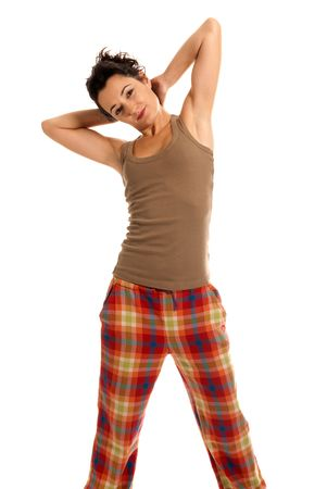 young woman be sleepy wearing pajamas isolated on white background photo