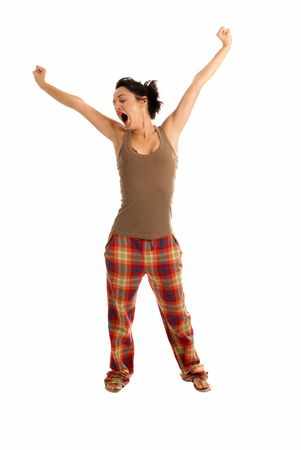 pijama: joven ser so�olienta vistiendo pijamas aislados sobre fondo blanco  Foto de archivo