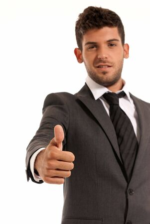 ok symbol: Young businessman ok symbol gesture, isolated on white background. Focused on hand