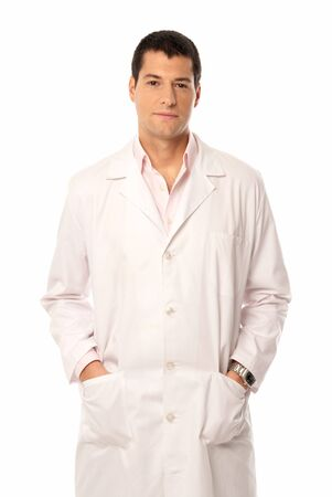 occupancy: Doctor smile hands on pockets isolated on white background Stock Photo