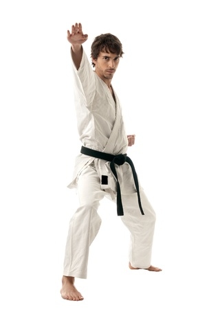 arts backgrounds: Karate male fighter young isolated on white background