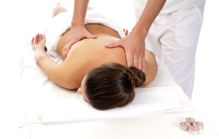 woman receiving massage relax treatment close-up from male hands Stock Photo - 9682023