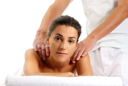 Man woman massage relax treatment close-up  portrait from male hands Stock Photo - 9682025