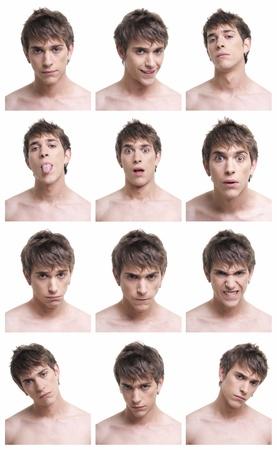composite: La cara del hombre compuesto de expresiones aisladas sobre fondo blanco. En AdobeRGB.