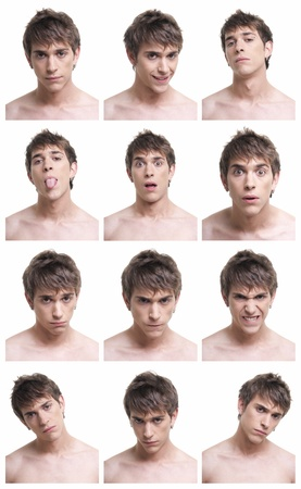 frontal portrait: Man face expressions composite isolated on white background. On AdobeRGB. Stock Photo