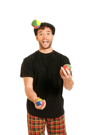 multitask: Young man juggling isolated on white background
