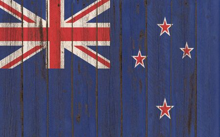 new zeland: Flag of New Zeland painted on wooden frame