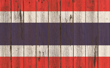 thailand flag: Thailand Flag painted on old wood plank background
