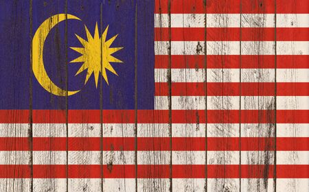 Flag of Malaysia painted on wooden frame Stock Photo