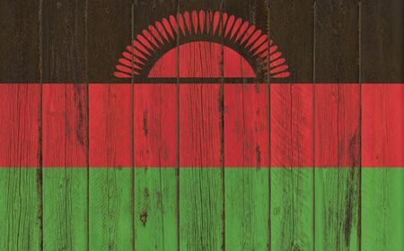 malawian flag: Flag of Malawi painted on wooden frame Stock Photo