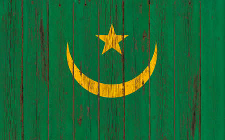 bstract: Flag of Mauritania painted on wooden frame