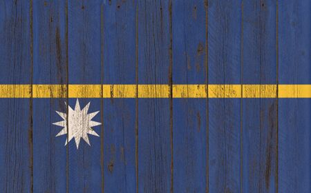 nauru: Flag of Nauru painted on wooden frame