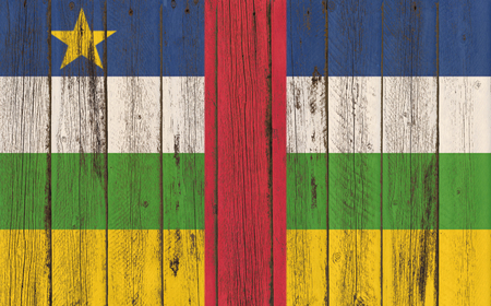 flagged: central african republic flag on old wood texture background - old wood background - Text Stock Photo