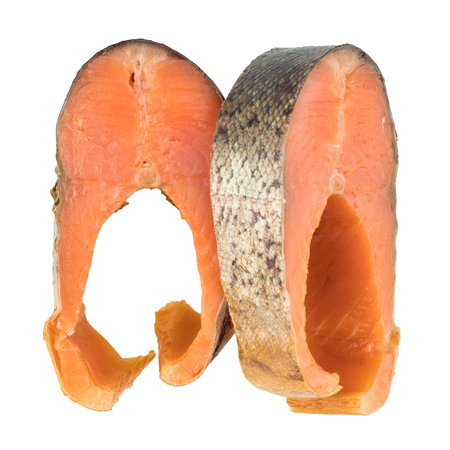cold cut: Slices Of Cold Smoked Pink Salmon Or Humpback Salmon Isolated On White Background, Close Up, Top View