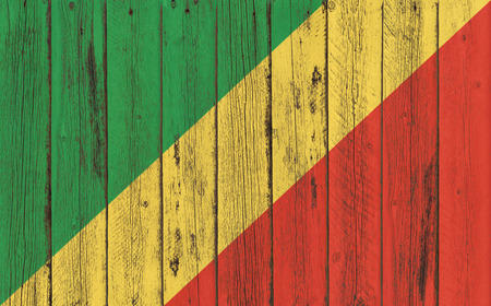 Flag of Congo Republic painted on wooden frame Stock Photo