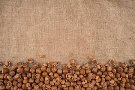 cobnut: Natural, unbroken hazelnuts on a jute bag background. Top view.
