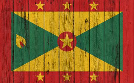 grenada: Flag of Grenada painted on wooden frame