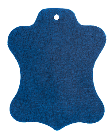 Leather tags or label on white background. Top view.