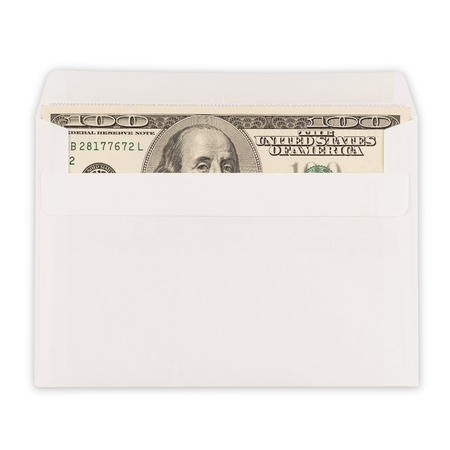 100 US dollar bills in an envelope isolated on white background. Top view.
